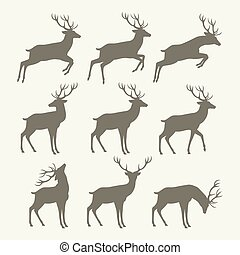 Christmas reindeer silhouettes - Collection of silhouettes...