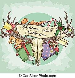Christmas Reindeer Skull label design
