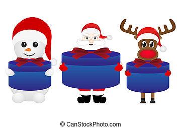 Christmas reindeer snowman