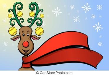 Christmas Reindeer Softball - Vector illustration of a...