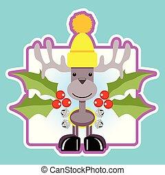Christmas Reindeer sticker emblem design