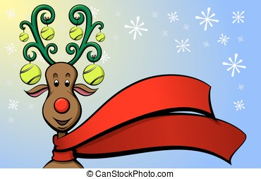 Christmas Reindeer Tennis - Vector illustration of a cartoon...