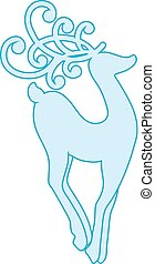 Christmas Reindeer. Vector illustration of a blue silhouette  isolated on white background