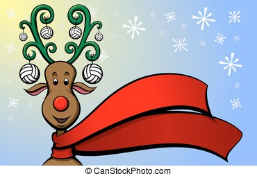 Christmas Reindeer Volleyball - Vector illustration of a...