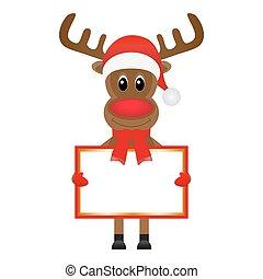 Christmas reindeer with blank
