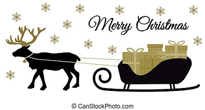 Christmas reindeer with collar and pile of present boxes on Santa's sleigh, black silhoutte and golden tones, flat design vector for merry christmas