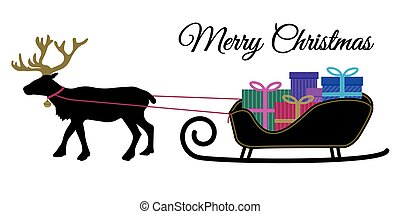 Christmas reindeer with collar and pile of present boxes on Santa's sleigh, black silhoutte color present box, flat design vector for merry christmas