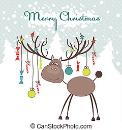 Christmas reindeer with fun gifts. Vector illustration
