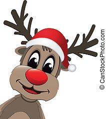 Christmas reindeer with red nose - christmas reindeer with...