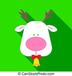 Christmas reindeer with red nose icon in flat style isolated on white background. Christmas Day symbol stock vector illustration.