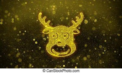 Christmas Reindeer Xmas Deer Icon Golden Glitter Shine...