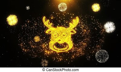Christmas Reindeer Xmas Deer Icon on Firework Display...