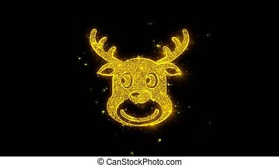 Christmas Reindeer Xmas Deer Icon Sparks Particles on Black Background.