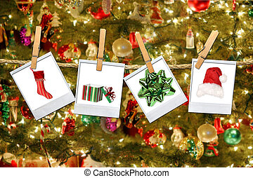 Christmas Related Images Hanging on a Rope