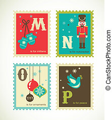 Christmas retro alphabet with cute icons