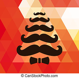 Christmas retro background with mustaches. Vector.