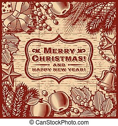Christmas Retro Card Brown