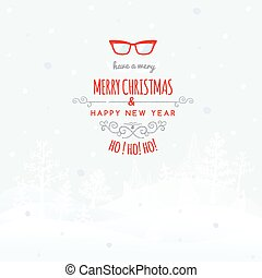 Christmas retro greeting card with mustache and glasses, vector christmas background