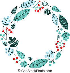 Christmas retro holiday wreath isolated on white - Retro...