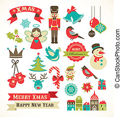 Christmas retro icons, elements and illustrations -...