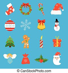 Christmas retro icons, elements and illustrations