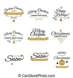 Christmas Retro Icons, Elements And Illustrations Set