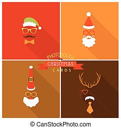 Christmas Retro Party Card - Photo booth Style - in vector