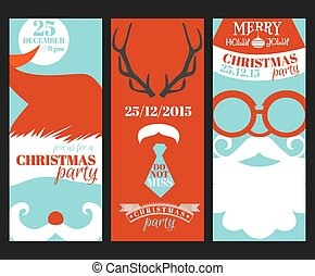 Christmas Retro Party Cards - Photo booth Style - in vector