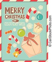 Christmas retro postcard with toys and gift Box
