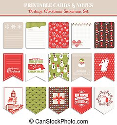 Christmas Retro Set - tags, cards, banners, labels, - in vector