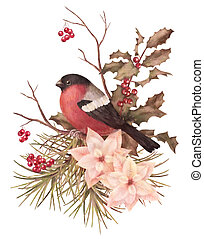Christmas retro watercolor decorative composition. Bird bullfinch, poinsettia flowers with Rowan and Holly branch on a white background