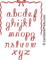 Christmas ribbon alphabet with ribbon and bow