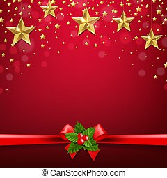 Christmas Ribbon Bow With Holly Berry Poster