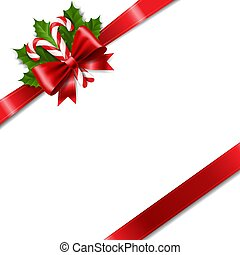 Christmas Ribbon Bow With Holly Berry Red Background