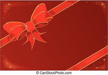 Christmas Ribbon On Red