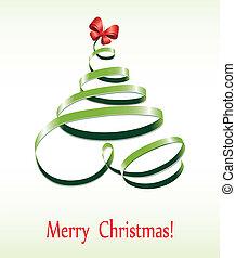 Christmas ribbon tree - Christmas tree, vector ribbon, bow...