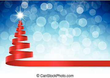 Christmas ribbon tree with blue defocused background