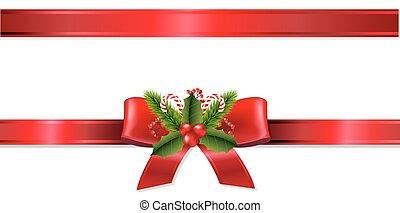 Christmas Ribbon With Gradient Mesh, Vector Illustration