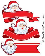 Christmas ribbon with santa claus
