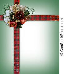 Christmas Ribbons and bow corner - Image and illustration...