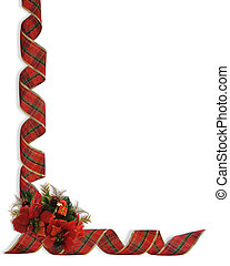 Christmas Ribbons and flowers corne - Image and illustration...