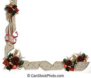 Christmas Ribbons Corner design