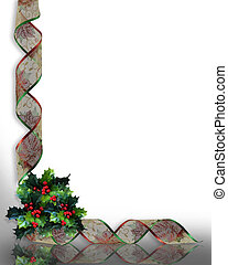 Image Composition for Christmas Corner design with holly and curled, red colorful ribbon with copy space.