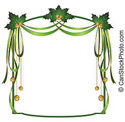 christmas ribbons decorated frame