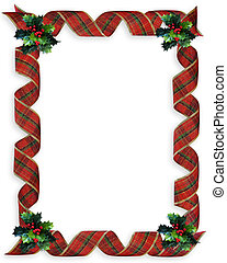 Christmas Ribbons Frame Holly - Image and illustration...