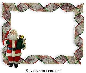 Christmas Ribbons Santa frame 3D