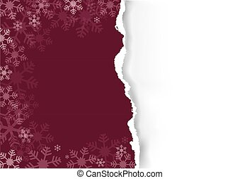 Christmas ripped paper, dark red background with snowflakes.