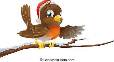 Christmas Robin on Snowy Branch