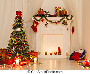Christmas Room Interior Design, Xmas Tree Decorated By...