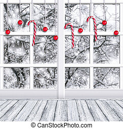 Christmas room interior with winter window and New Year decor
